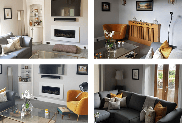 collage of 4 pictures displaying examples from Bespoke Design Interiors
