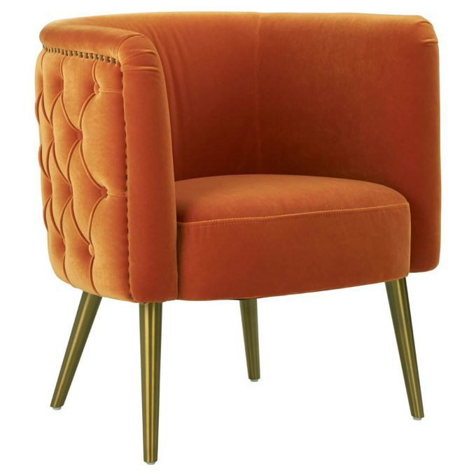 orange velvet manhattan luxury tub chair