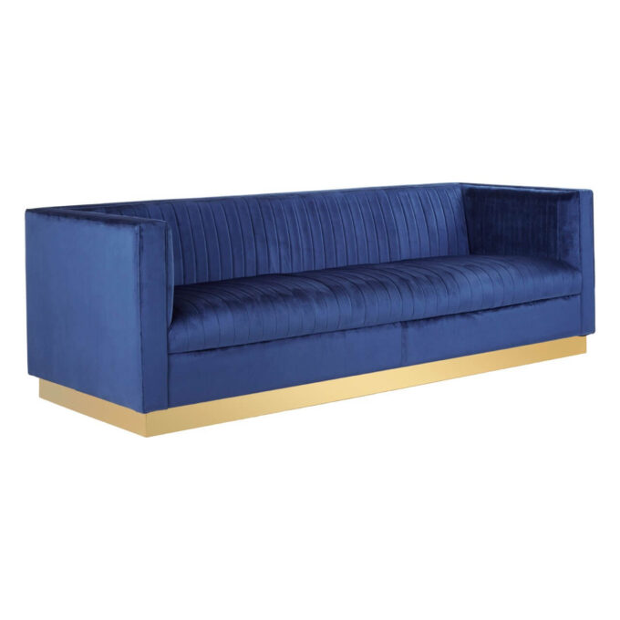 Deep blue angle view of ribbed velvet sofa
