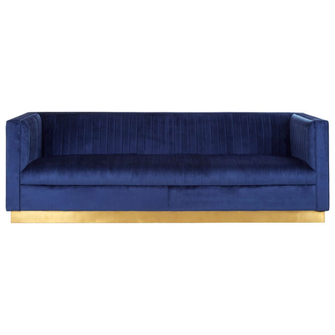 front face view deep blue velvet 3 seater sofa with gold block frame finish