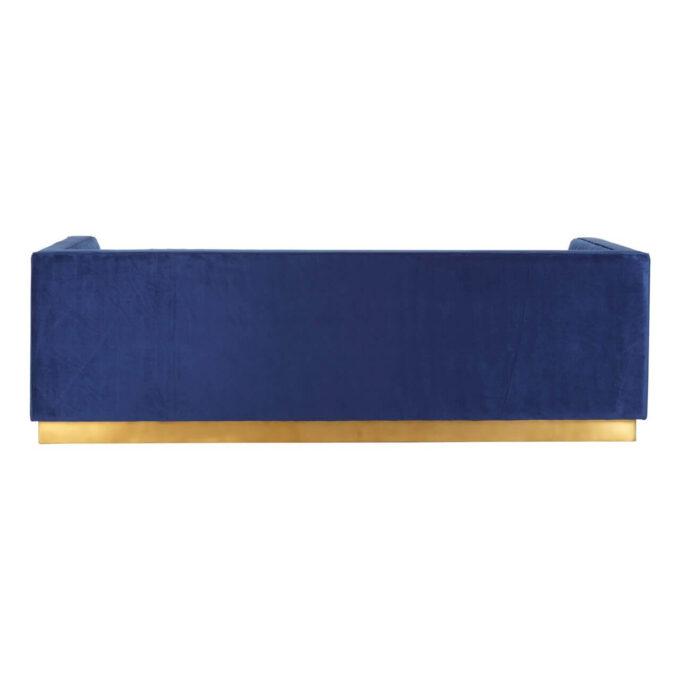 opal deep blue velvet sofa back view