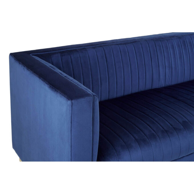 close view of ribbed finish on velvet lux sofa