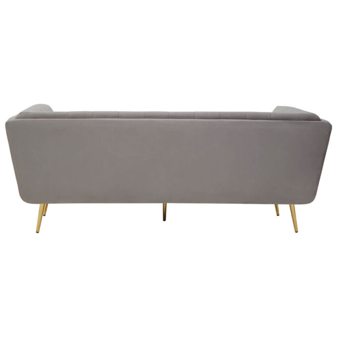 back view of straight velvet contemporary bacl of sofa