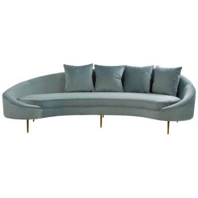 light blue velvet curved retro 4 seater sofa with brass legs