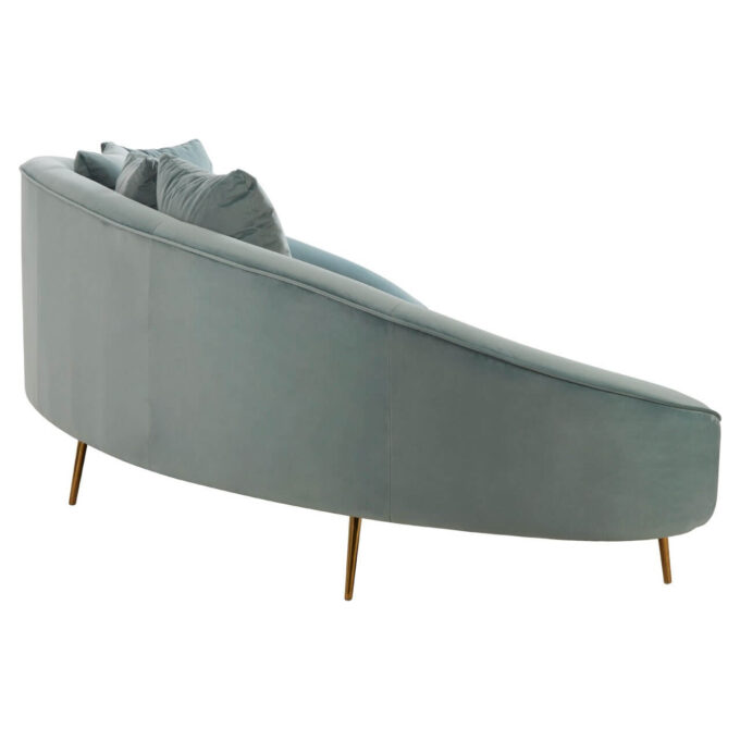side view osdin light blue 4 seat sofa with brass finish legs