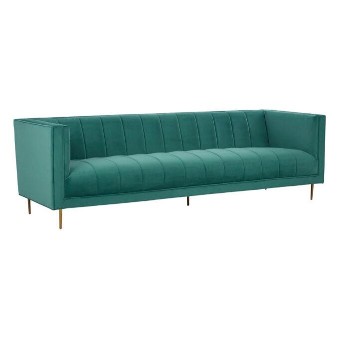 angled view of ribbed detailed velvet 3 seter sofa