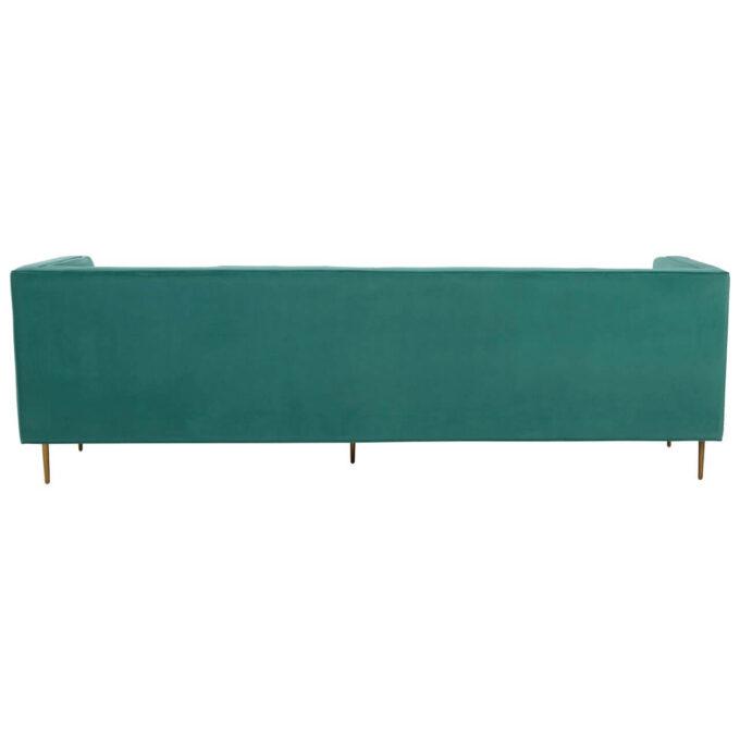 back straight velvet view of sofa
