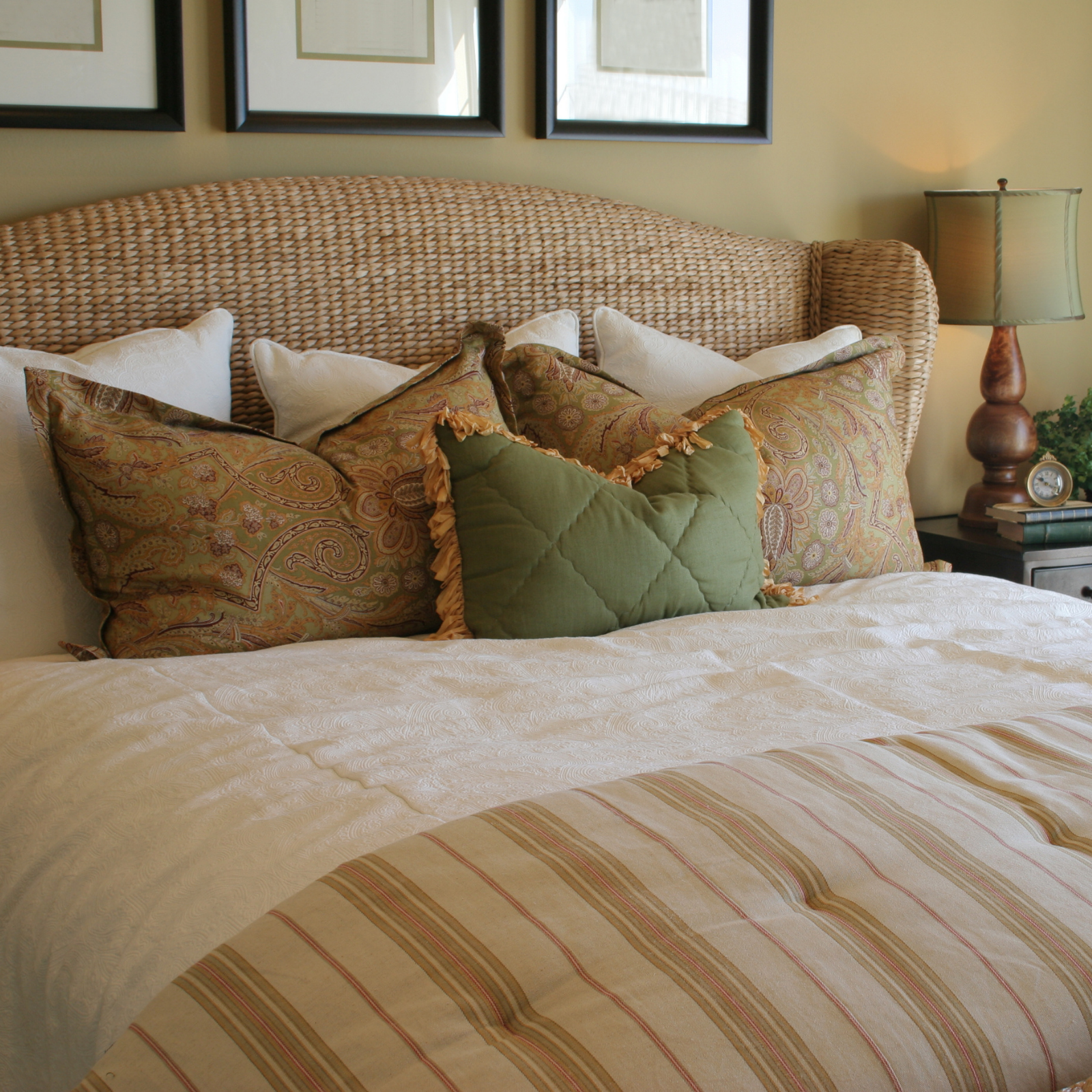 bedroom with earth tones